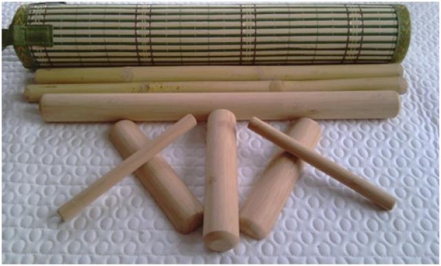 Malá profesionálna sada bambusového náradia na bambusovú masáž